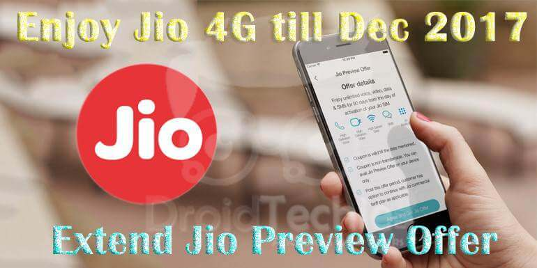Extend Reliance Jio welcome offer till Dec 2017