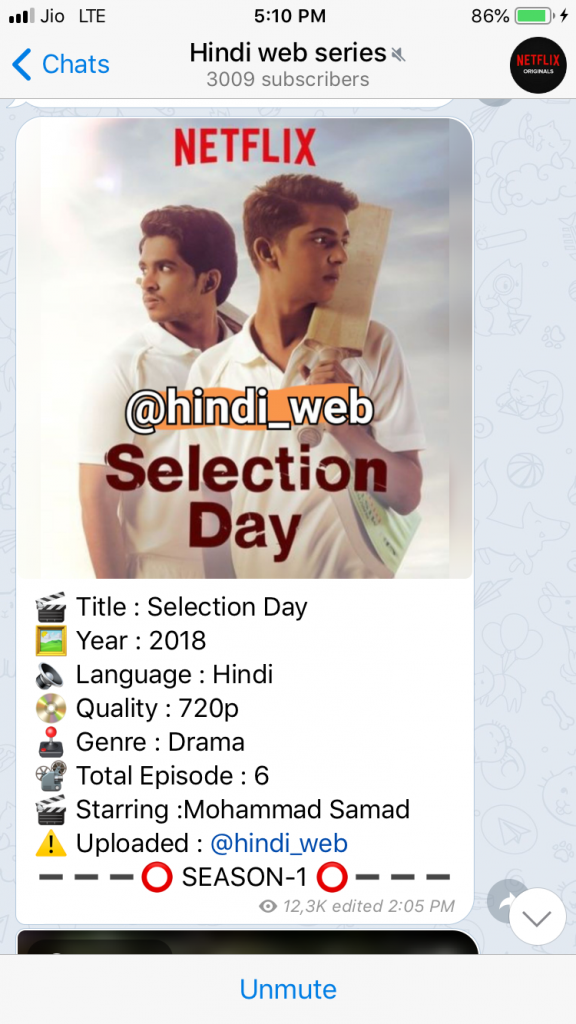 Search results for Hindi Web series Telegram.