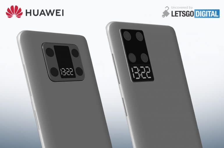 Huawei patents a smartphone design with a secondary display alongside the camera module.