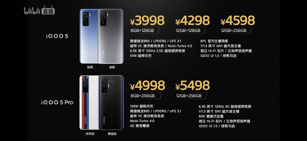 iQOO 5 and iQOO 5 Pro launched in China.