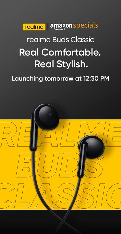 Realme Buds Classic wired earphones will launch with real me C12 and realme C15.