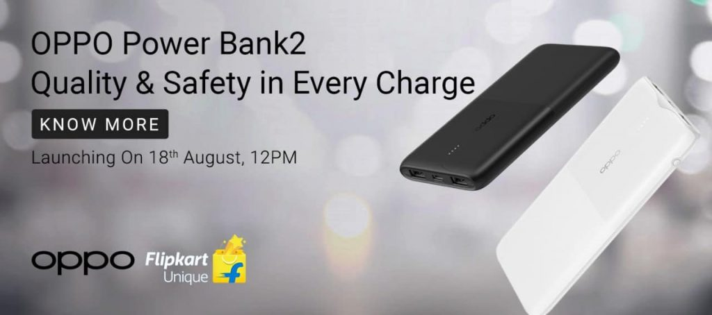 OPPO Power Bank 2 is launching on August 18 in India Will be available on Flipkart.